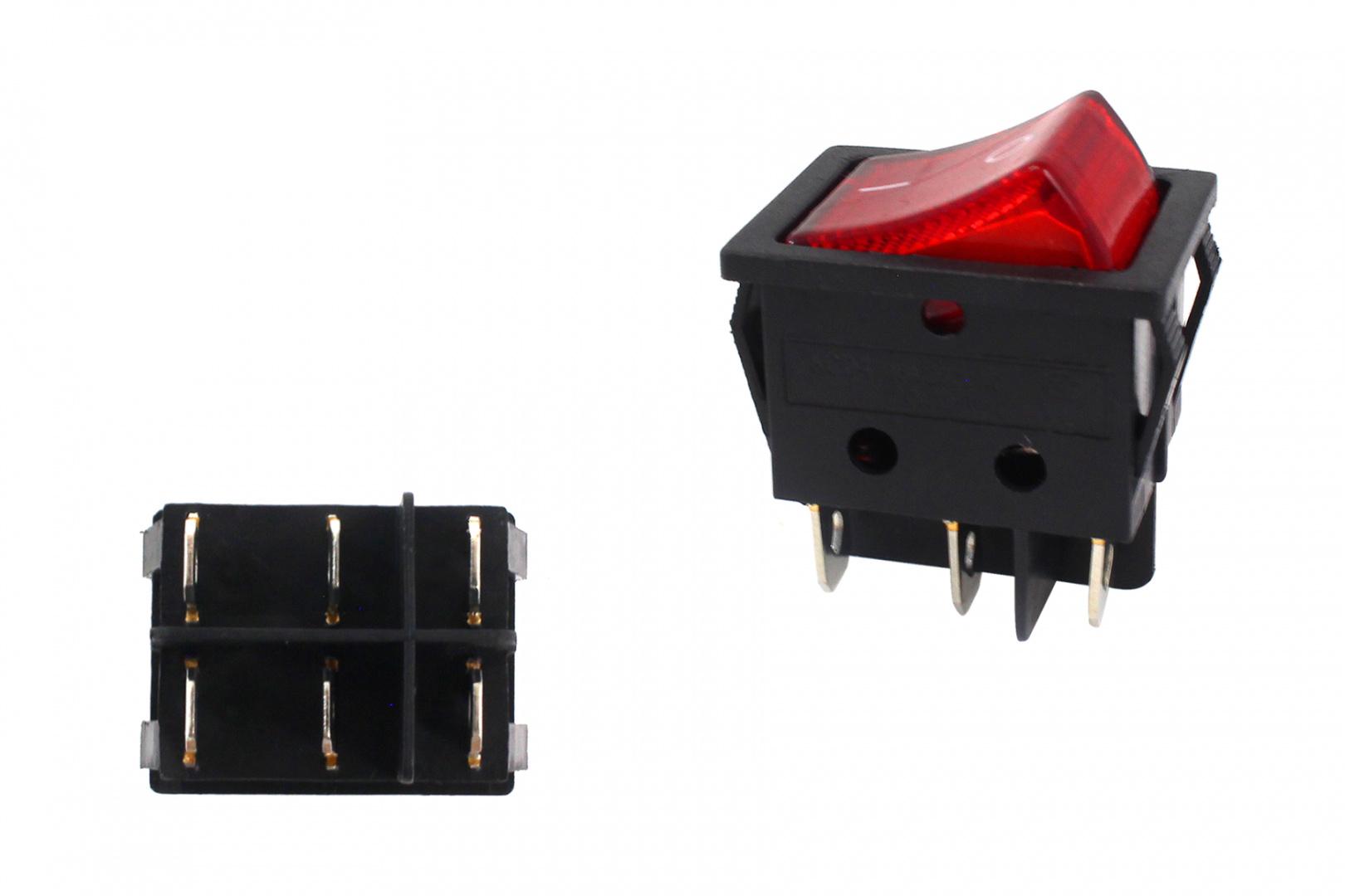 Włącznik rocker 6 PIN Red - GRUBYGARAGE - Sklep Tuningowy